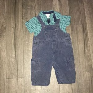 Lot of two baby boys,overall & shirt.Size 6 months